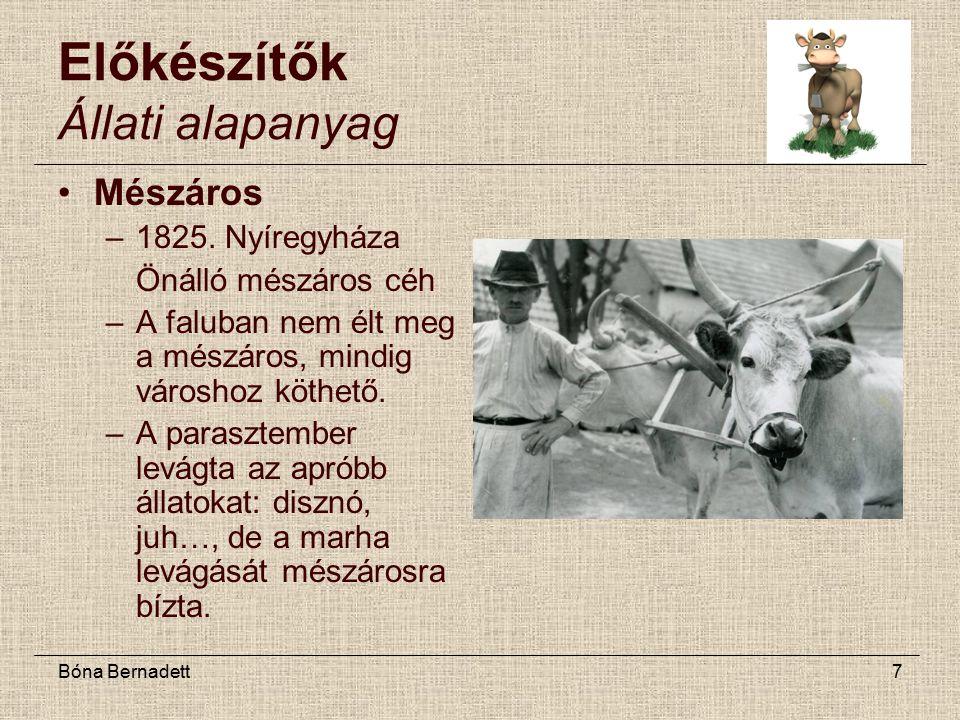 Bóna Bernadett7 Előkészítők Állati alapanyag Mészáros –1825.