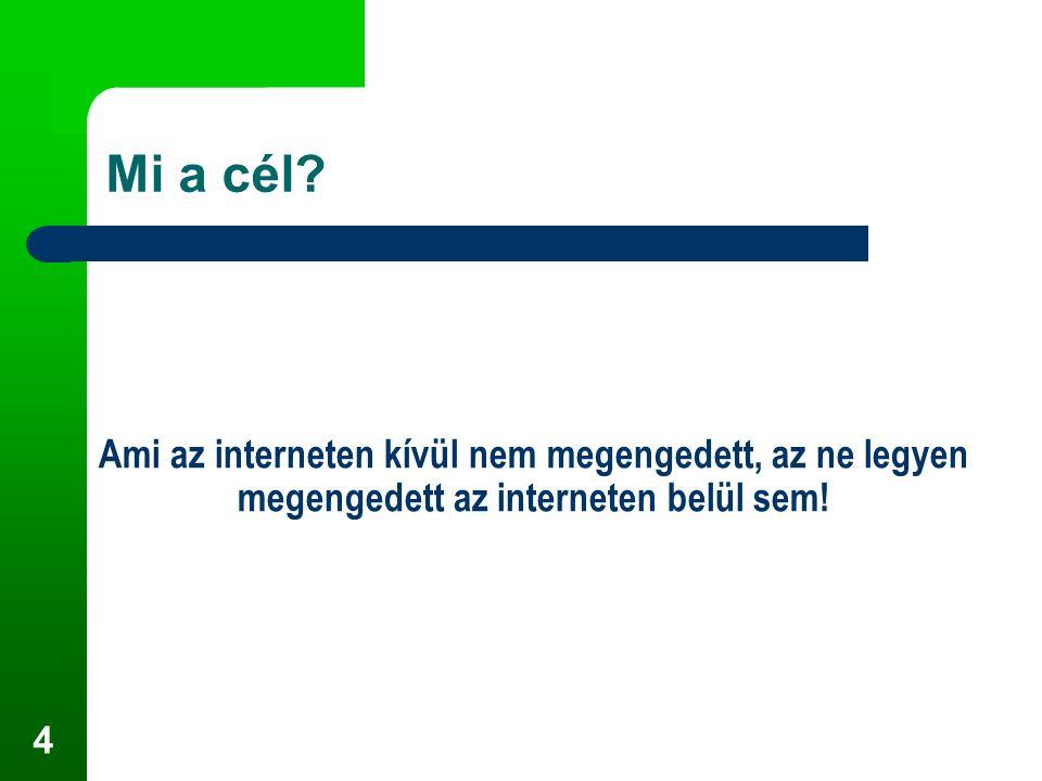 4 Ami az interneten kívül nem megengedett, az ne legyen megengedett az interneten belül sem! Mi a cél?