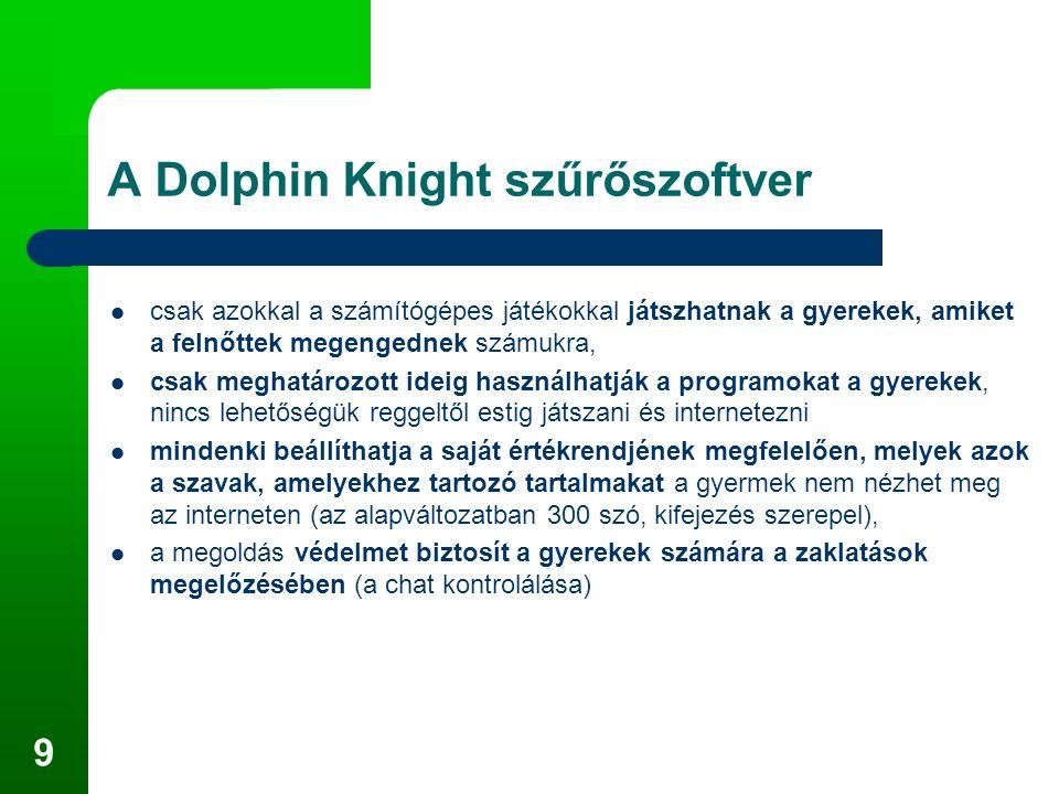 9 A Dolphin Knight szűrőszoftver csak azokkal a számítógépes játékokkal játszhatnak a gyerekek, amiket a felnőttek megengednek számukra, csak meghatározott ideig használhatják a programokat a gyerekek, nincs lehetőségük reggeltől estig játszani és internetezni mindenki beállíthatja a saját értékrendjének megfelelően, melyek azok a szavak, amelyekhez tartozó tartalmakat a gyermek nem nézhet meg az interneten (az alapváltozatban 300 szó, kifejezés szerepel), a megoldás védelmet biztosít a gyerekek számára a zaklatások megelőzésében (a chat kontrolálása)