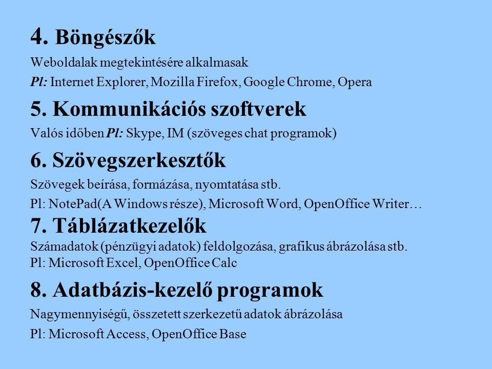 4. Böngészők Weboldalak megtekintésére alkalmasak Pl: Internet Explorer, Mozilla Firefox, Google Chrome, Opera 5. Kommunikációs szoftverek Valós időbe