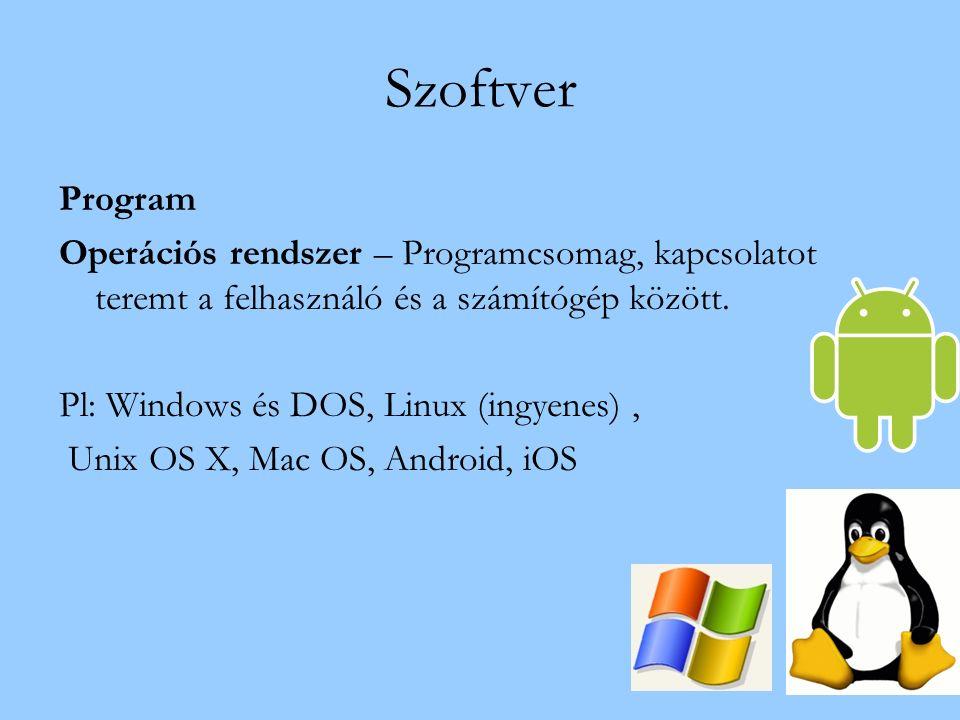 Szoftver Program Operációs rendszer – Programcsomag, kapcsolatot teremt a felhasználó és a számítógép között.