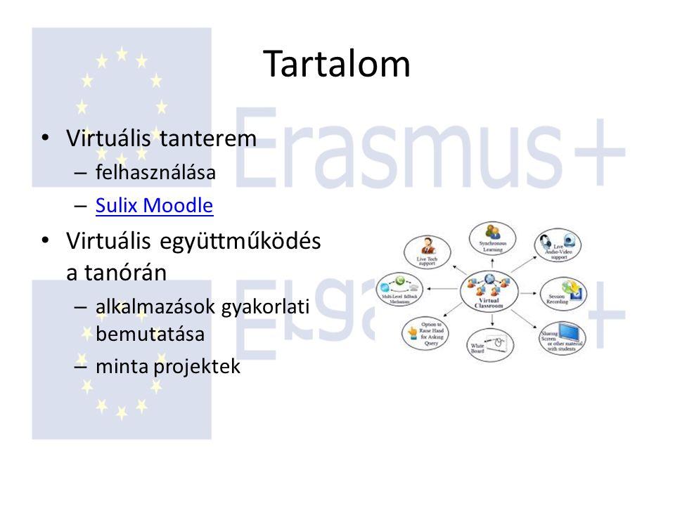Tartalom Virtuális tanterem – felhasználása – Sulix Moodle Sulix Moodle Virtuális együttműködés a tanórán – alkalmazások gyakorlati bemutatása – minta projektek