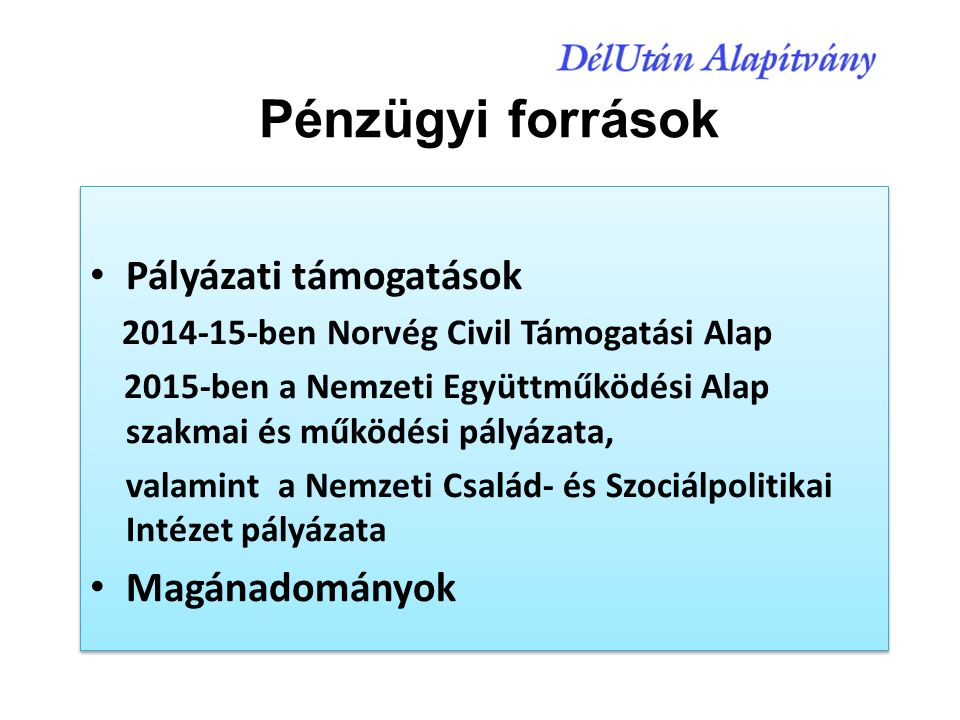 Pályázati támogatások 2014-15-ben Norvég Civil Támogatási Alap 2015-ben a Nemzeti Együttműködési Alap szakmai és működési pályázata, valamint a Nemzeti Család- és Szociálpolitikai Intézet pályázata Magánadományok Pályázati támogatások 2014-15-ben Norvég Civil Támogatási Alap 2015-ben a Nemzeti Együttműködési Alap szakmai és működési pályázata, valamint a Nemzeti Család- és Szociálpolitikai Intézet pályázata Magánadományok Pénzügyi források