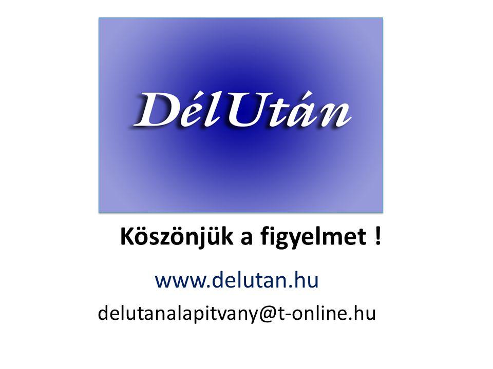 Köszönjük a figyelmet ! www.delutan.hu delutanalapitvany@t-online.hu