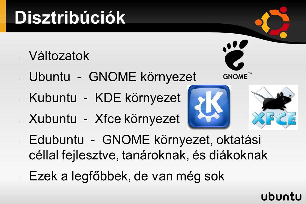 Disztribúciók Változatok Ubuntu - GNOME környezet Kubuntu - KDE környezet Xubuntu - Xfce környezet Edubuntu - GNOME környezet, oktatási céllal fejlesz