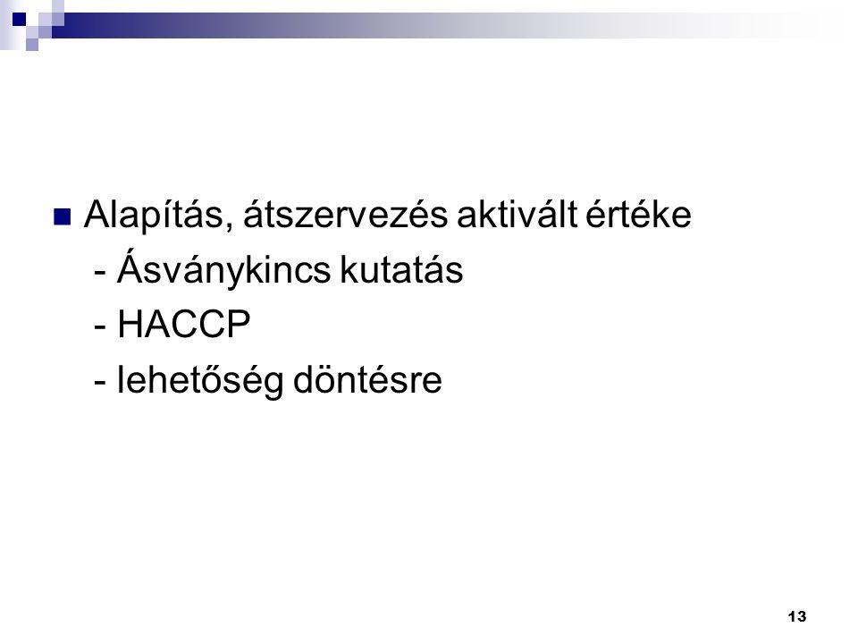 13 Alapítás, átszervezés aktivált értéke - Ásványkincs kutatás - HACCP - lehetőség döntésre