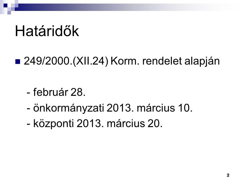 2 Határidők 249/2000.(XII.24) Korm. rendelet alapján - február 28.