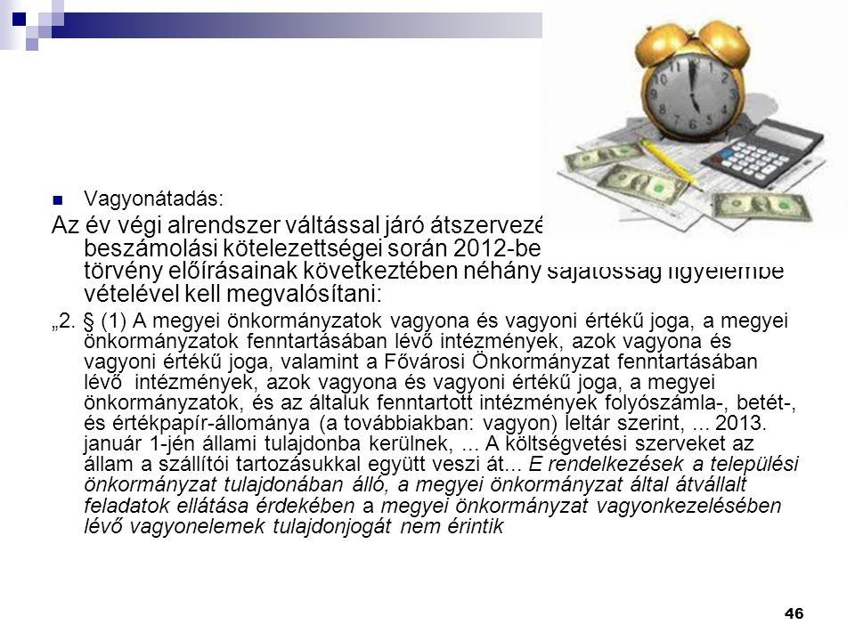 """46 Vagyonátadás: Az év végi alrendszer váltással járó átszervezés könyvvezetési és beszámolási kötelezettségei során 2012-ben a konszolidációs törvény előírásainak következtében néhány sajátosság figyelembe vételével kell megvalósítani: """"2."""