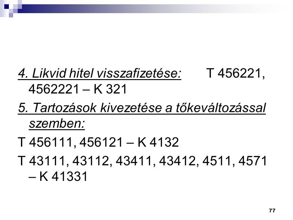 77 4. Likvid hitel visszafizetése: T 456221, 4562221 – K 321 5.