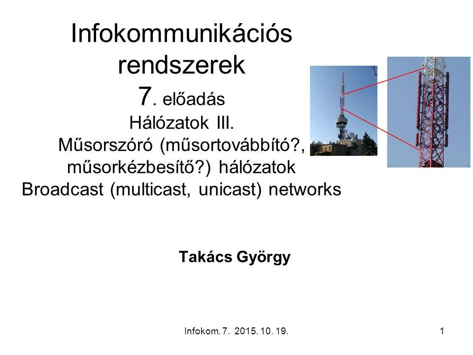 Infokom. 7. 2015. 10. 19.1 Infokommunikációs rendszerek 7. előadás Hálózatok III. Műsorszóró (műsortovábbító?, műsorkézbesítő?) hálózatok Broadcast (m
