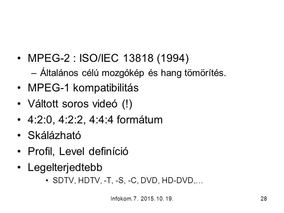 Infokom. 7. 2015. 10. 19.28 MPEG-2 : ISO/IEC 13818 (1994) –Általános célú mozgókép és hang tömörítés. MPEG-1 kompatibilitás Váltott soros videó (!) 4: