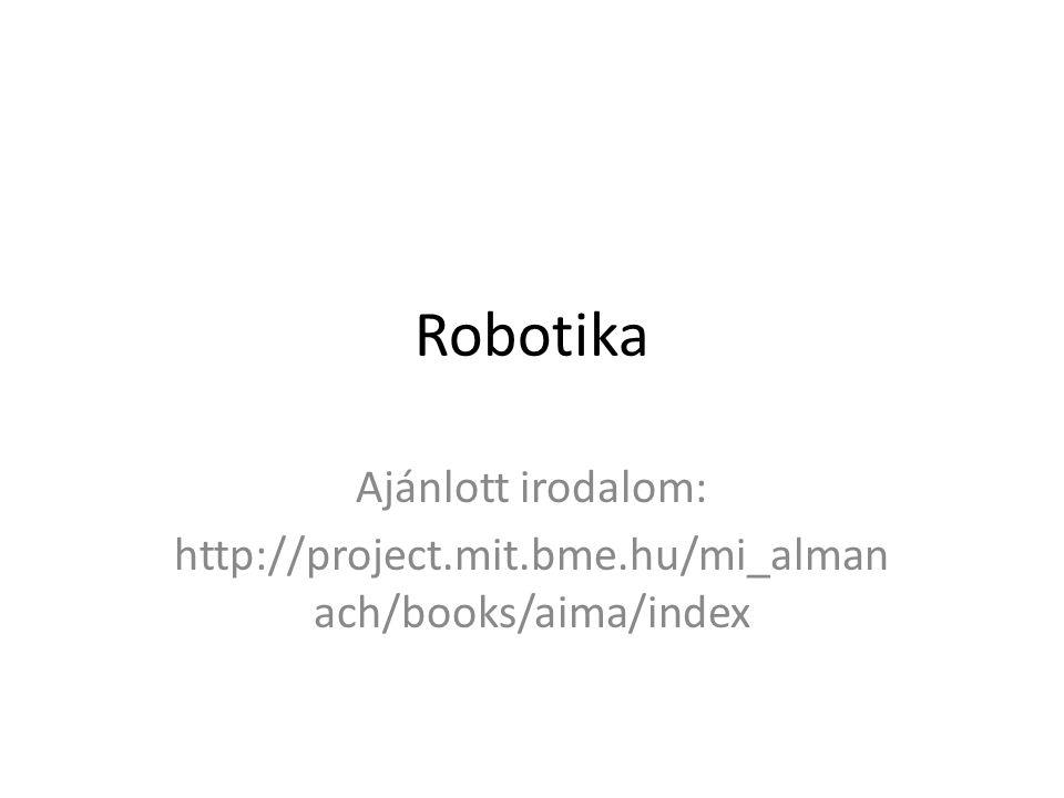 Robotika Ajánlott irodalom: http://project.mit.bme.hu/mi_alman ach/books/aima/index