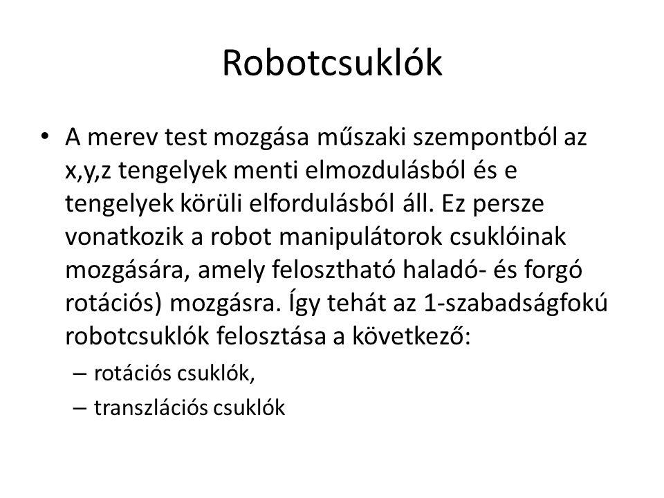 Robotcsuklók A merev test mozgása műszaki szempontból az x,y,z tengelyek menti elmozdulásból és e tengelyek körüli elfordulásból áll.