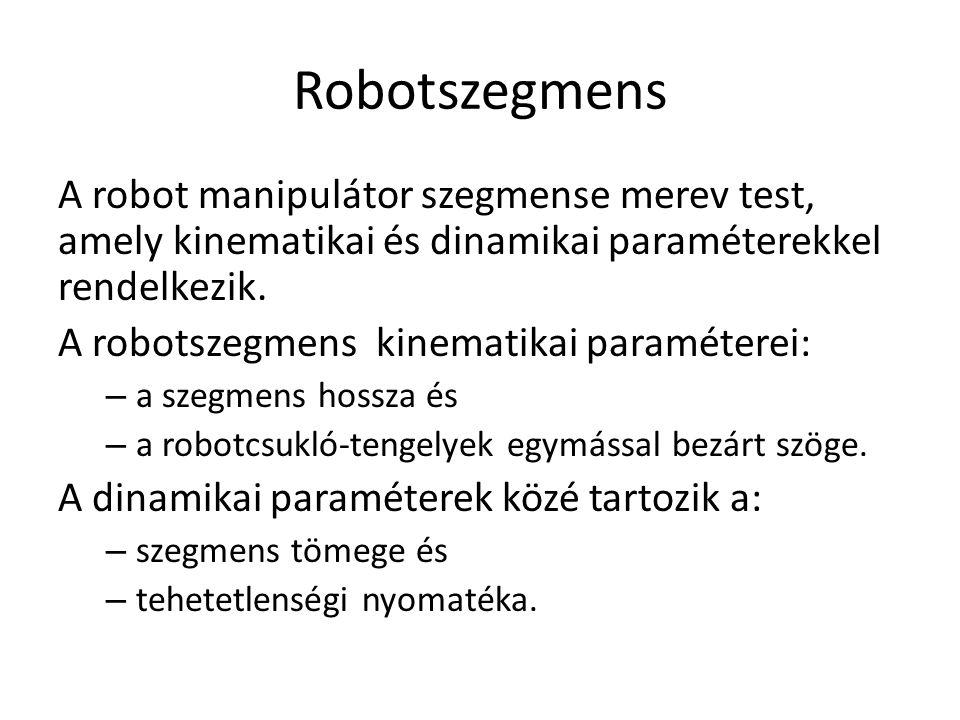 Robotszegmens A robot manipulátor szegmense merev test, amely kinematikai és dinamikai paraméterekkel rendelkezik.