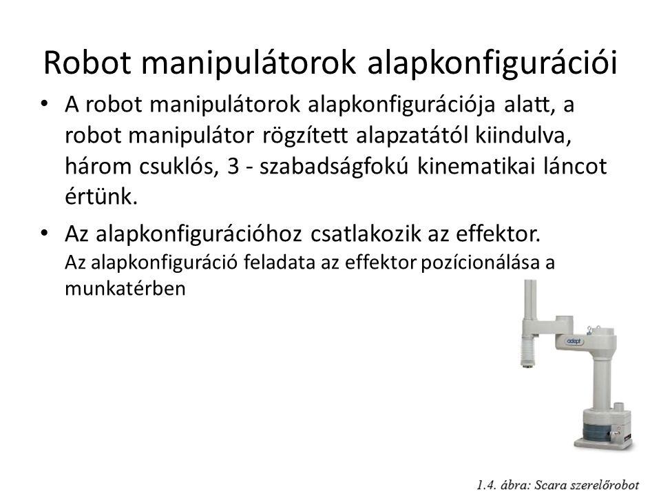 Robot manipulátorok alapkonfigurációi A robot manipulátorok alapkonfigurációja alatt, a robot manipulátor rögzített alapzatától kiindulva, három csuklós, 3 - szabadságfokú kinematikai láncot értünk.