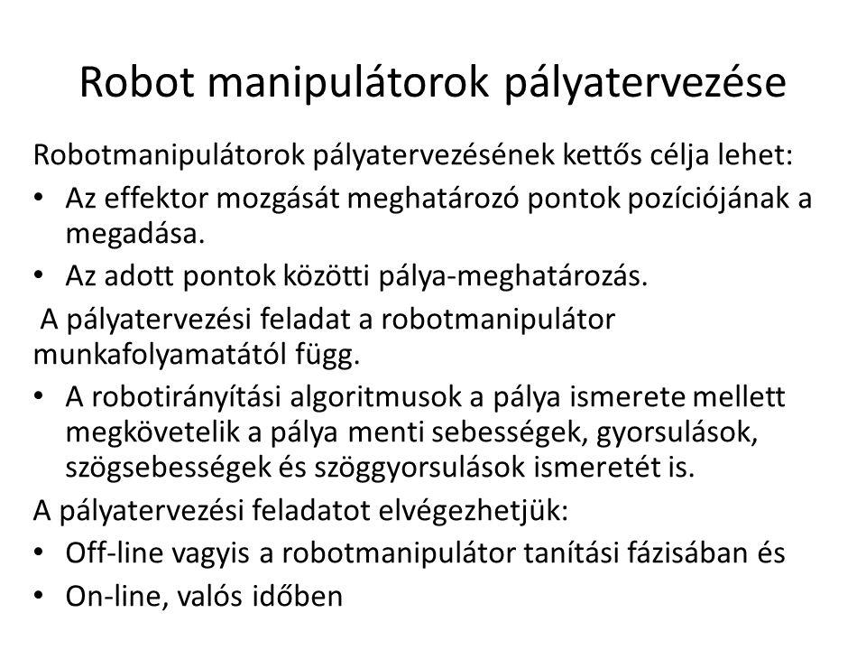 Robot manipulátorok pályatervezése Robotmanipulátorok pályatervezésének kettős célja lehet: Az effektor mozgását meghatározó pontok pozíciójának a megadása.