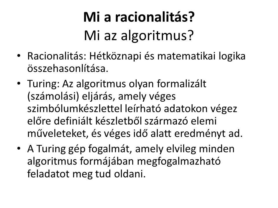 Mi a racionalitás. Mi az algoritmus.