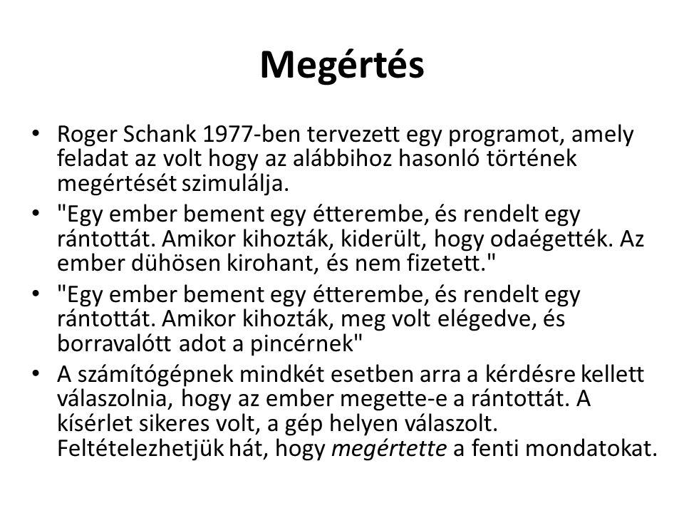 Megértés Roger Schank 1977-ben tervezett egy programot, amely feladat az volt hogy az alábbihoz hasonló történek megértését szimulálja.