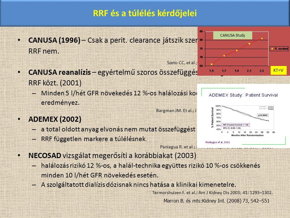 RRF és a túlélés kérdőjelei CANUSA (1996) – Csak a perit. clearance játszik szerepet a túlélésben, a RRF nem. Szeto CC, et al.; Am J Kidney Dis 1999;