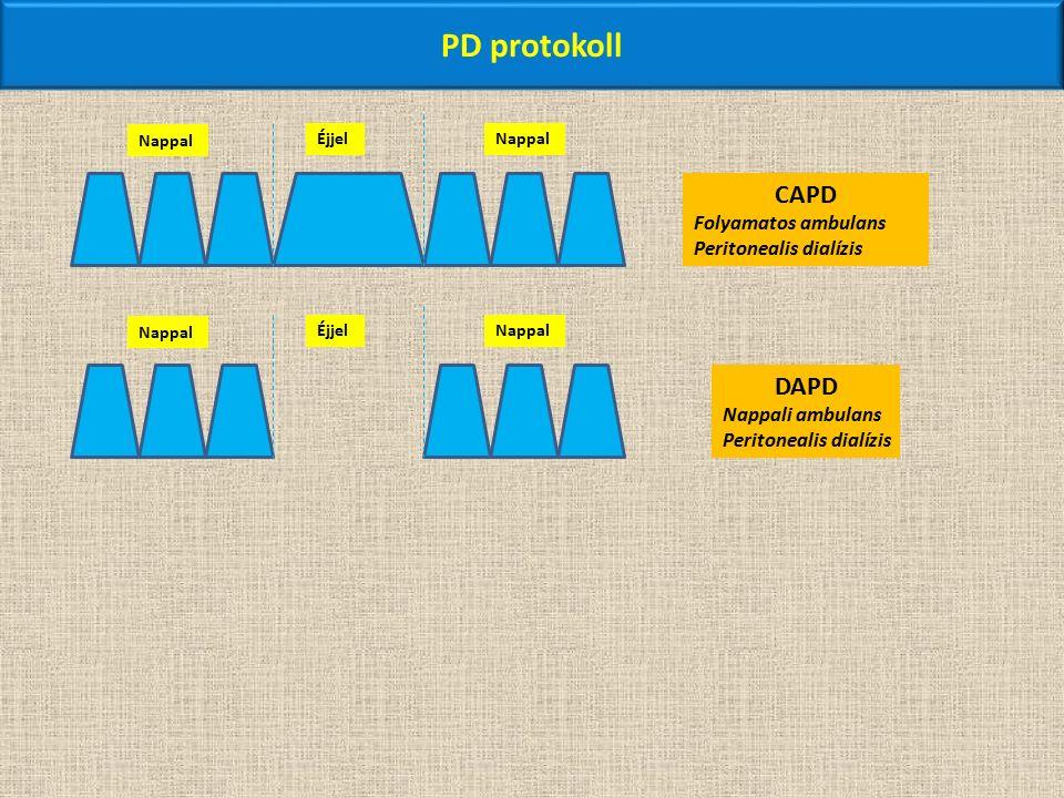 PD protokoll Nappal ÉjjelNappal CAPD Folyamatos ambulans Peritonealis dialízis Nappal ÉjjelNappal DAPD Nappali ambulans Peritonealis dialízis