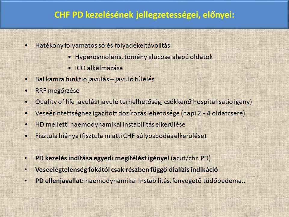 CHF PD kezelésének jellegzetességei, előnyei: Hatékony folyamatos só és folyadékeltávolítás Hyperosmolaris, tömény glucose alapú oldatok ICO alkalmazá