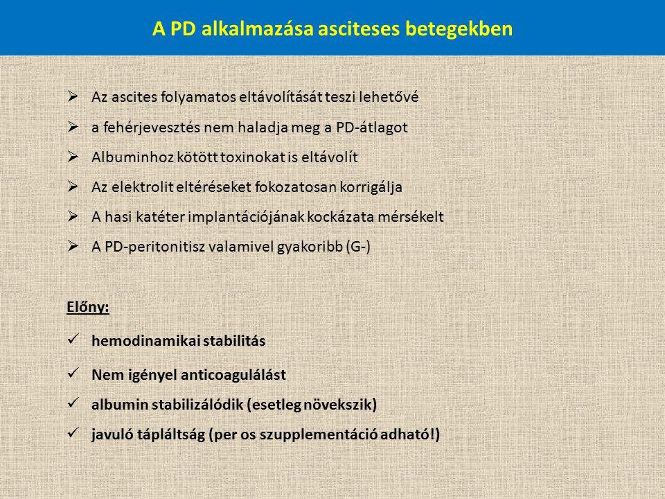 A PD alkalmazása asciteses betegekben  Az ascites folyamatos eltávolítását teszi lehetővé  a fehérjevesztés nem haladja meg a PD-átlagot  Albuminhoz kötött toxinokat is eltávolít  Az elektrolit eltéréseket fokozatosan korrigálja  A hasi katéter implantációjának kockázata mérsékelt  A PD-peritonitisz valamivel gyakoribb (G-) Előny: hemodinamikai stabilitás Nem igényel anticoagulálást albumin stabilizálódik (esetleg növekszik) javuló tápláltság (per os szupplementáció adható!)