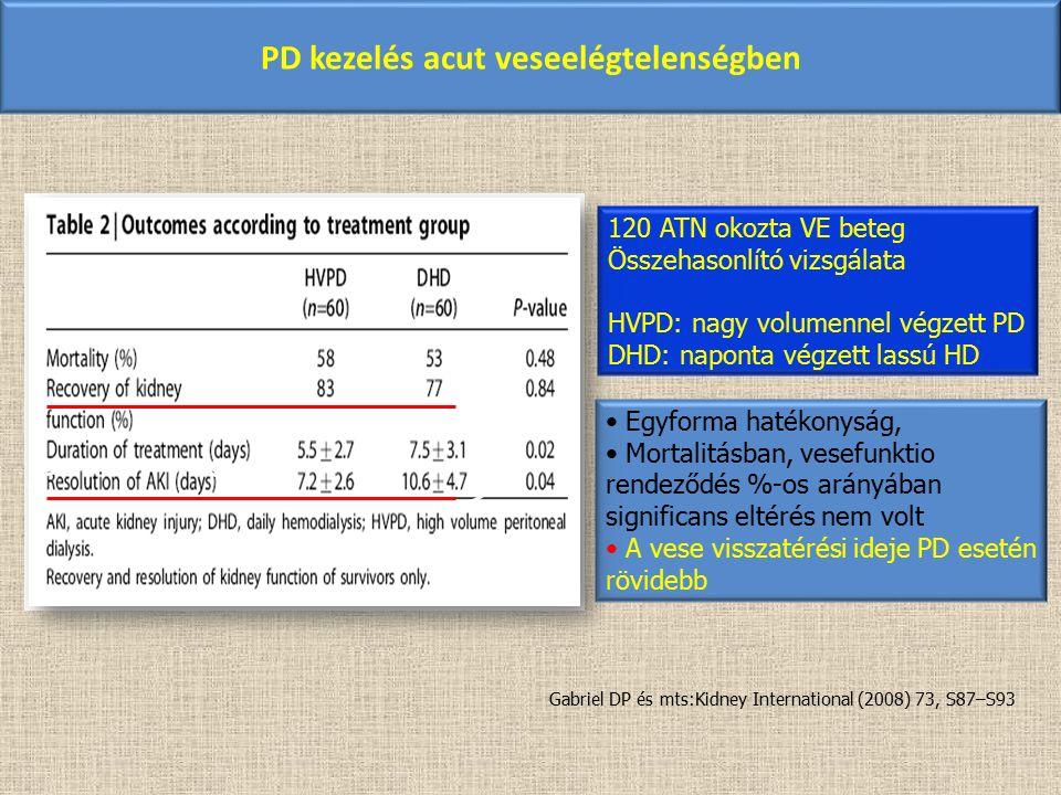 PD kezelés acut veseelégtelenségben 120 ATN okozta VE beteg Összehasonlító vizsgálata HVPD: nagy volumennel végzett PD DHD: naponta végzett lassú HD E