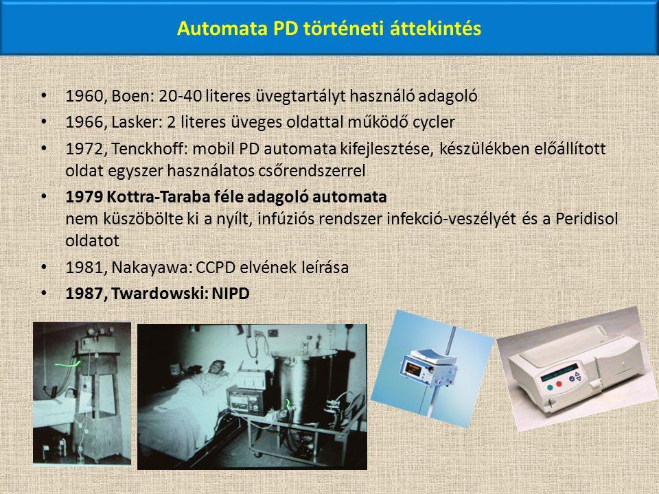 Automata PD történeti áttekintés 1960, Boen: 20-40 literes üvegtartályt használó adagoló 1966, Lasker: 2 literes üveges oldattal működő cycler 1972, Tenckhoff: mobil PD automata kifejlesztése, készülékben előállított oldat egyszer használatos csőrendszerrel 1979 Kottra-Taraba féle adagoló automata nem küszöbölte ki a nyílt, infúziós rendszer infekció-veszélyét és a Peridisol oldatot 1981, Nakayawa: CCPD elvének leírása 1987, Twardowski: NIPD