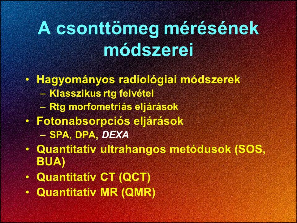 A csonttömeg mérésének módszerei Hagyományos radiológiai módszerek –Klasszikus rtg felvétel –Rtg morfometriás eljárások Fotonabsorpciós eljárások, –SPA, DPA, DEXA Quantitatív ultrahangos metódusok (SOS, BUA) Quantitatív CT (QCT) Quantitatív MR (QMR)