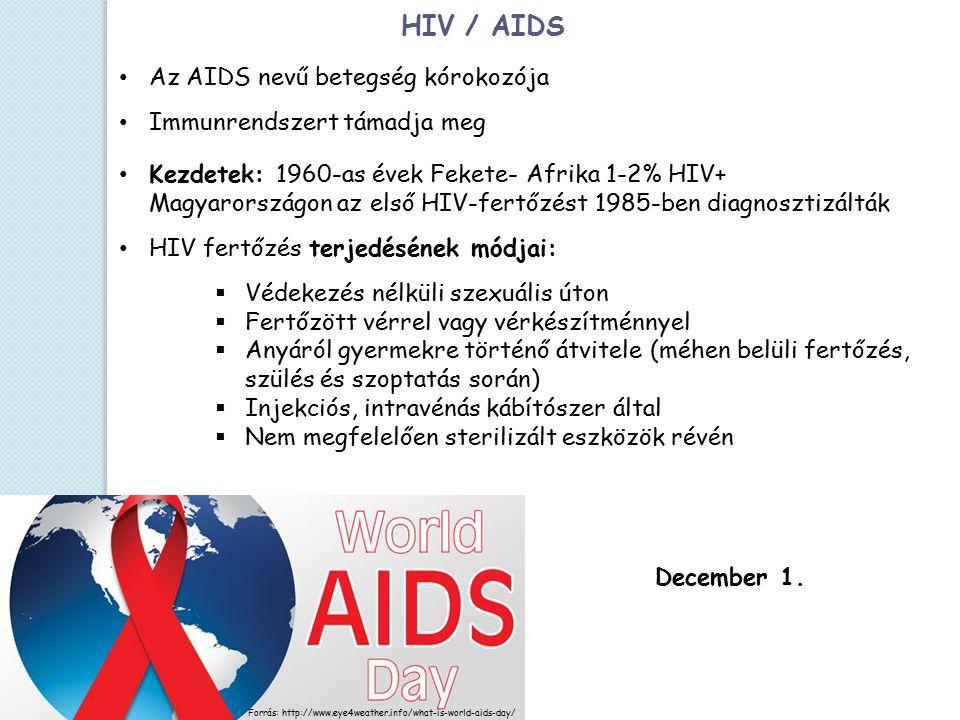 HIV / AIDS Az AIDS nevű betegség kórokozója Immunrendszert támadja meg Kezdetek: 1960-as évek Fekete- Afrika 1-2% HIV+ Magyarországon az első HIV-fertőzést 1985-ben diagnosztizálták HIV fertőzés terjedésének módjai:  Védekezés nélküli szexuális úton  Fertőzött vérrel vagy vérkészítménnyel  Anyáról gyermekre történő átvitele (méhen belüli fertőzés, szülés és szoptatás során)  Injekciós, intravénás kábítószer által  Nem megfelelően sterilizált eszközök révén Forrás: http://www.eye4weather.info/what-is-world-aids-day/ December 1.