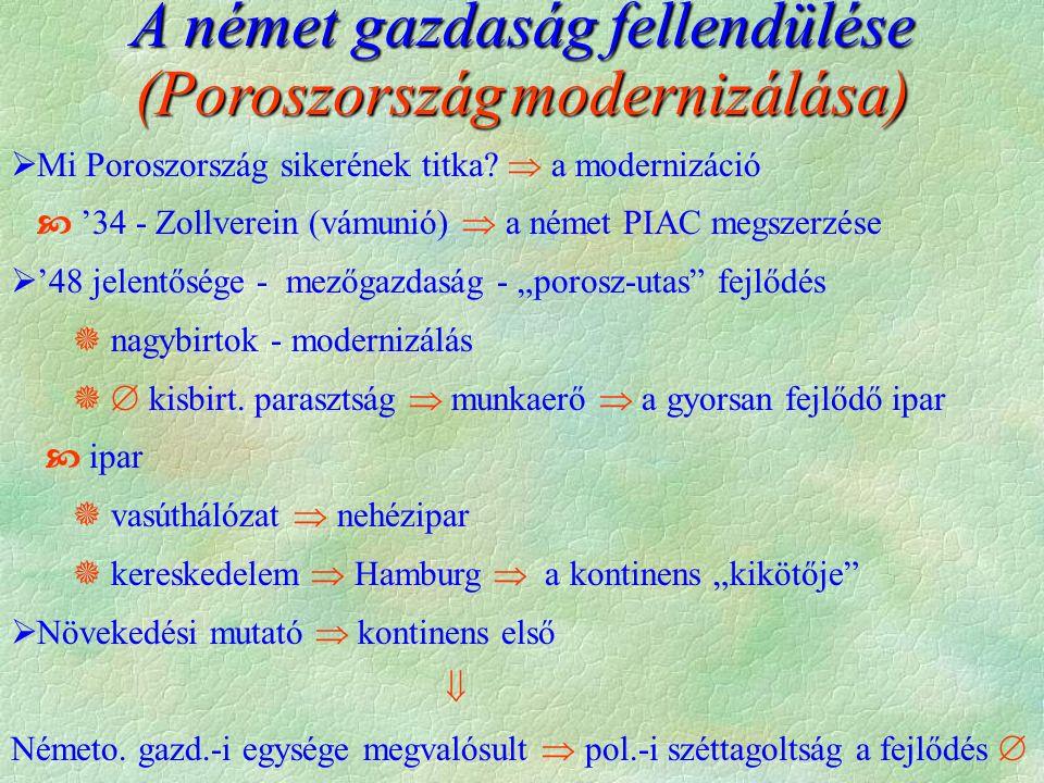A német gazdaság fellendülése (Poroszországmodernizálása) (Poroszország modernizálása)  Mi Poroszország sikerének titka.
