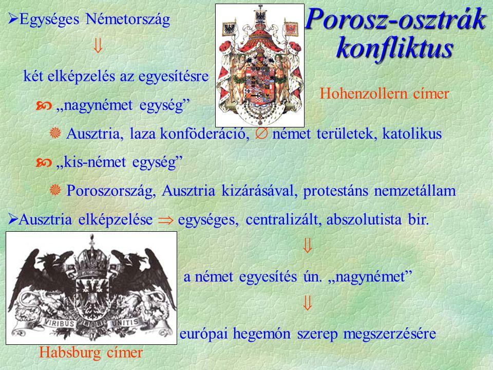 """Porosz-osztrák konfliktus  Egységes Németország  két elképzelés az egyesítésre  """"nagynémet egység  Ausztria, laza konföderáció,  német területek, katolikus  """"kis-német egység  Poroszország, Ausztria kizárásával, protestáns nemzetállam  Ausztria elképzelése  egységes, centralizált, abszolutista bir."""