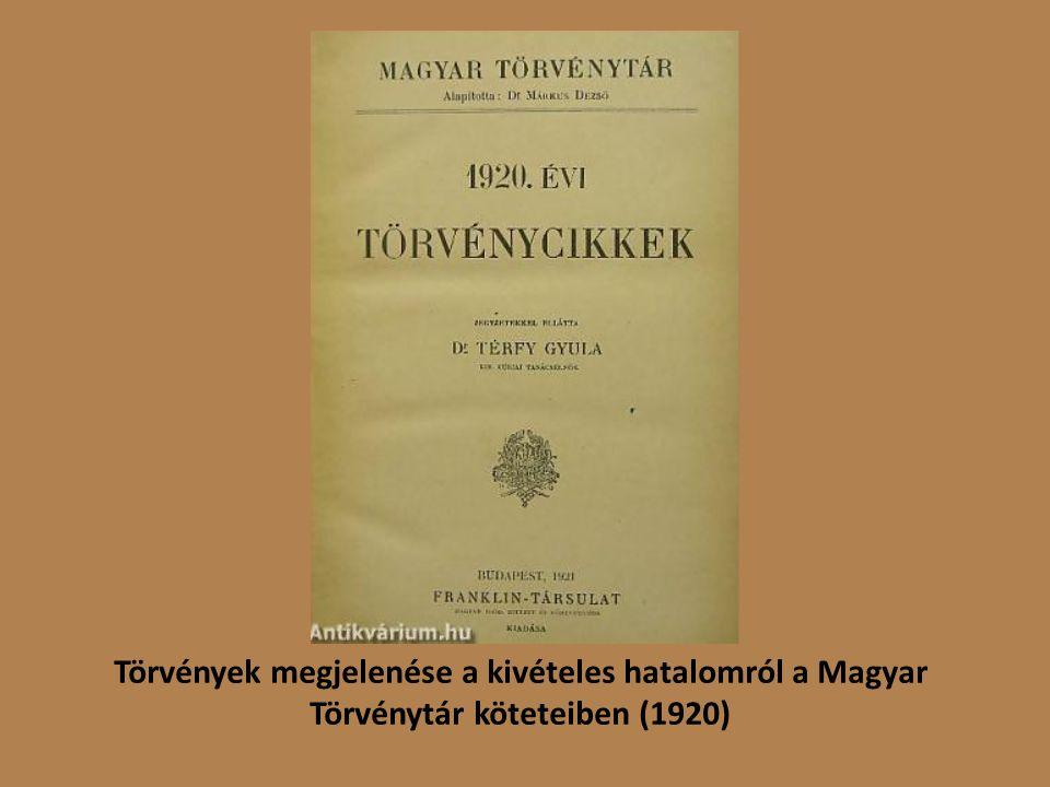 Törvények megjelenése a kivételes hatalomról a Magyar Törvénytár köteteiben (1920)