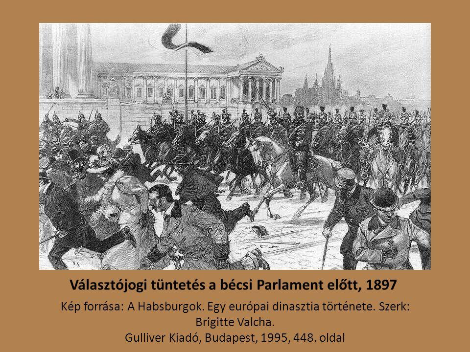 Választójogi tüntetés a bécsi Parlament előtt, 1897 Kép forrása: A Habsburgok.