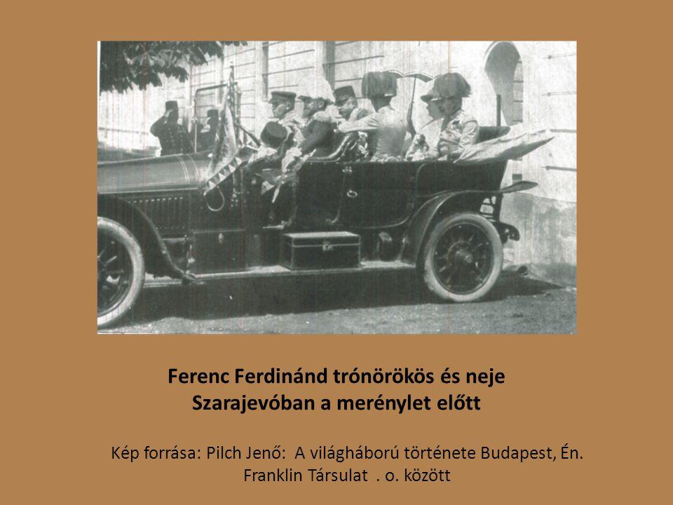 Ferenc Ferdinánd trónörökös és neje Szarajevóban a merénylet előtt Kép forrása: Pilch Jenő: A világháború története Budapest, Én.