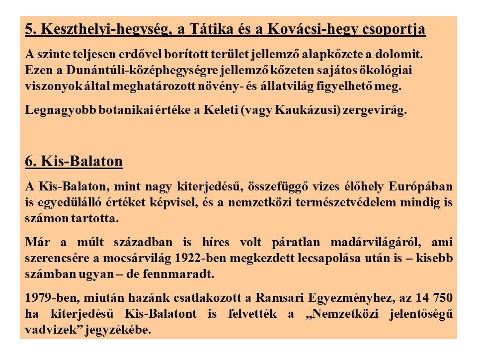 5. Keszthelyi-hegység, a Tátika és a Kovácsi-hegy csoportja A szinte teljesen erdővel borított terület jellemző alapkőzete a dolomit. Ezen a Dunántúli