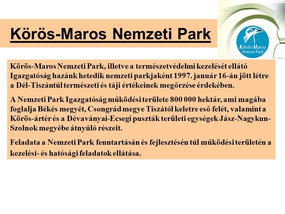 Körös-Maros Nemzeti Park Körös-Maros Nemzeti Park, illetve a természetvédelmi kezelését ellátó Igazgatóság hazánk hetedik nemzeti parkjaként 1997. jan