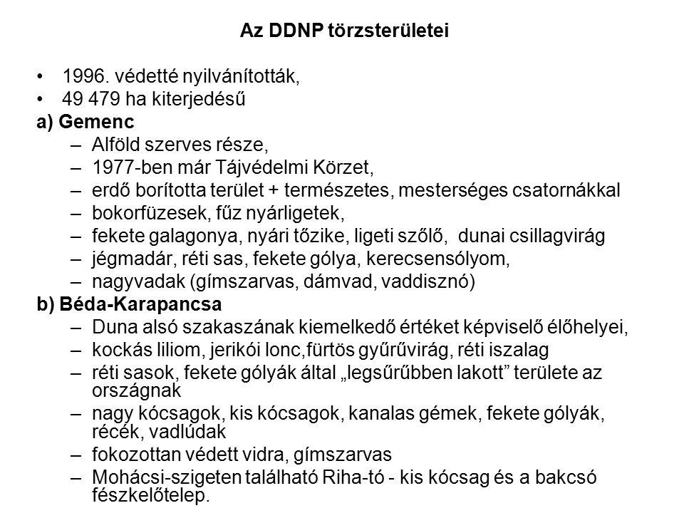 Az DDNP törzsterületei 1996. védetté nyilvánították, 49 479 ha kiterjedésű a) Gemenc –Alföld szerves része, –1977-ben már Tájvédelmi Körzet, –erdő bor