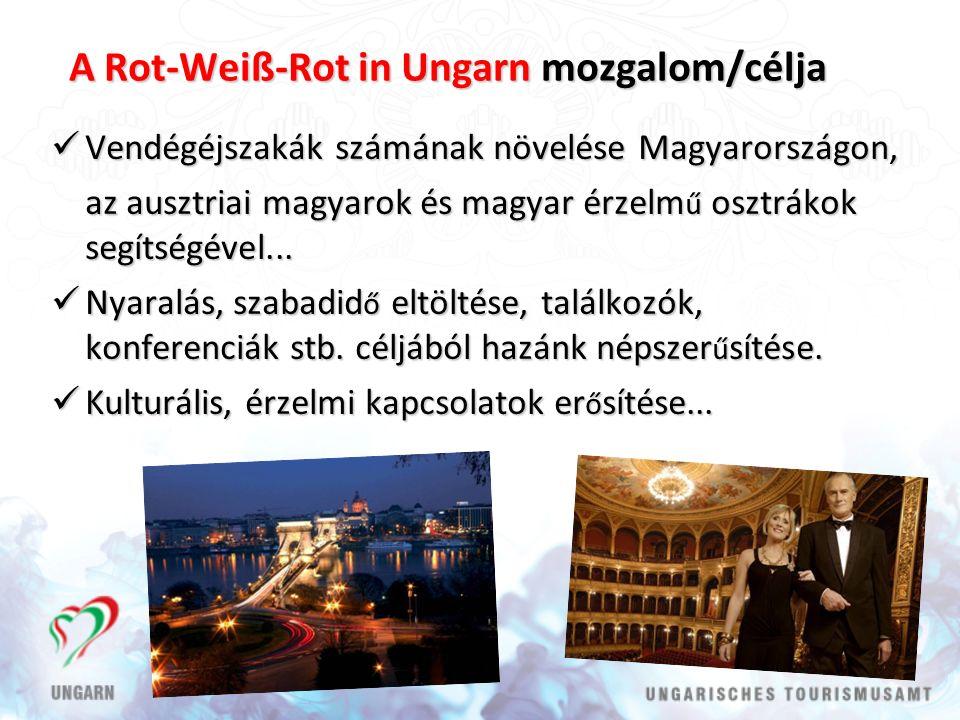 A Rot-Weiß-Rot in Ungarn mozgalom/célja Vendégéjszakák számának növelése Magyarországon, Vendégéjszakák számának növelése Magyarországon, az ausztriai magyarok és magyar érzelm ű osztrákok segítségével...