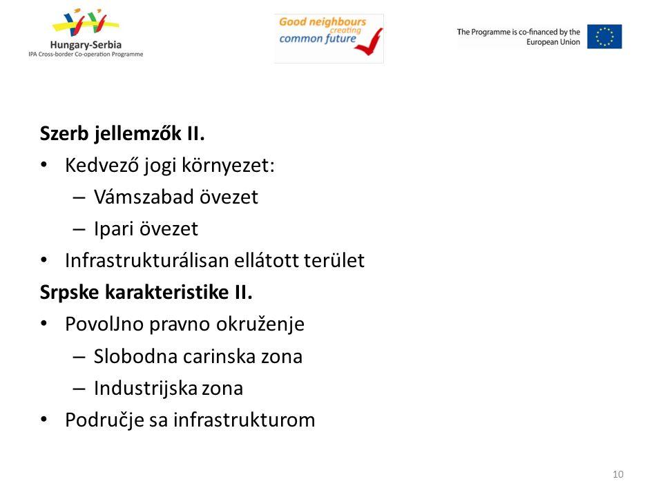Szerb jellemzők II. Kedvező jogi környezet: – Vámszabad övezet – Ipari övezet Infrastrukturálisan ellátott terület Srpske karakteristike II. PovolJno