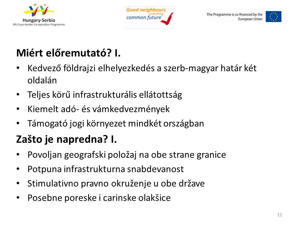 Miért előremutató? I. Kedvező földrajzi elhelyezkedés a szerb-magyar határ két oldalán Teljes körű infrastrukturális ellátottság Kiemelt adó- és vámke