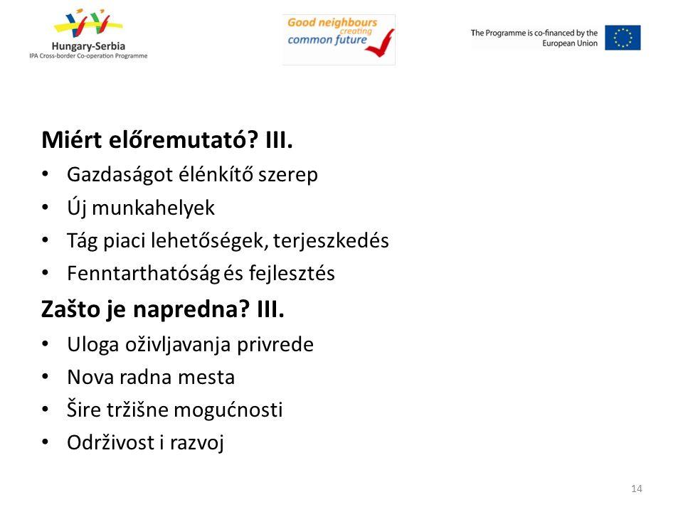 Miért előremutató? III. Gazdaságot élénkítő szerep Új munkahelyek Tág piaci lehetőségek, terjeszkedés Fenntarthatóság és fejlesztés Zašto je napredna?