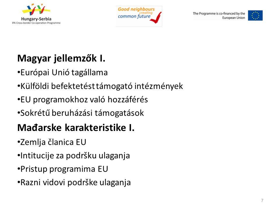Magyar jellemzők I. Európai Unió tagállama Külföldi befektetést támogató intézmények EU programokhoz való hozzáférés Sokrétű beruházási támogatások Ma