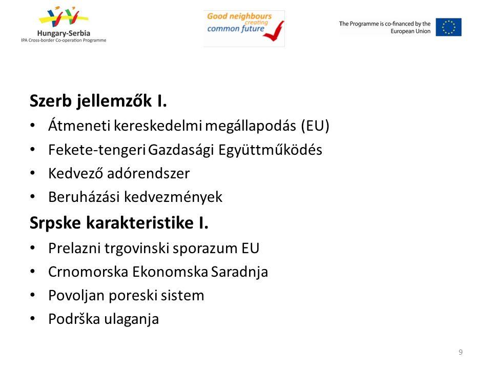 Szerb jellemzők I. Átmeneti kereskedelmi megállapodás (EU) Fekete-tengeri Gazdasági Együttműködés Kedvező adórendszer Beruházási kedvezmények Srpske k