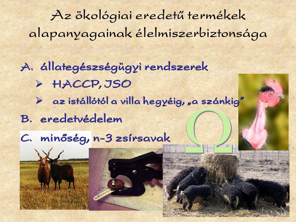 """Az ökológiai eredetű termékek alapanyagainak élelmiszerbiztonsága  állategészségügyi rendszerek  HACCP, ISO  az istállótól a villa hegyéig, """"a szánkig  eredetvédelem  minőség, n-3 zsírsavak  állategészségügyi rendszerek  HACCP, ISO  az istállótól a villa hegyéig, """"a szánkig  eredetvédelem  minőség, n-3 zsírsavak"""