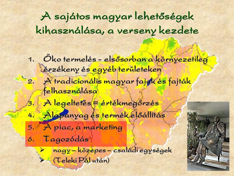 A sajátos magyar lehetőségek kihasználása, a verseny kezdete  Öko termelés - elsősorban a környezetileg érzékeny és egyéb területeken  A tradicionális magyar fajok és fajták felhasználása  A legeltetés = értékmegőrzés  Alapanyag és termék előállítás  A piac, a marketing  Tagozódás  nagy – közepes – családi egységek  (Teleki Pál után)  Öko termelés - elsősorban a környezetileg érzékeny és egyéb területeken  A tradicionális magyar fajok és fajták felhasználása  A legeltetés = értékmegőrzés  Alapanyag és termék előállítás  A piac, a marketing  Tagozódás  nagy – közepes – családi egységek  (Teleki Pál után)