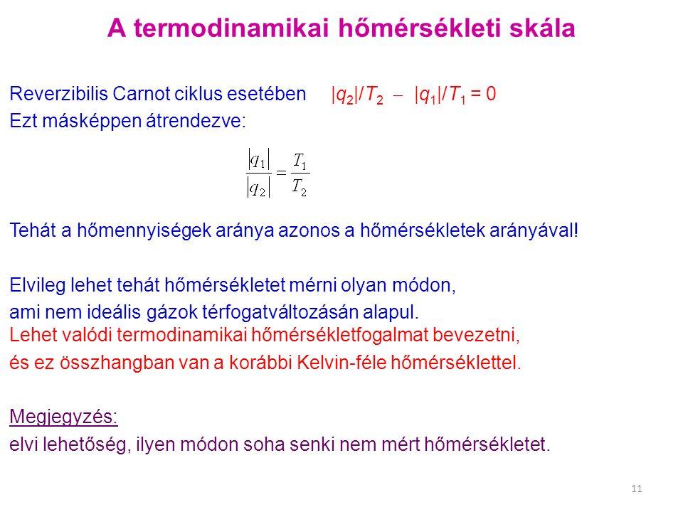 A termodinamikai hőmérsékleti skála Reverzibilis Carnot ciklus esetében |q 2 |/T 2  |q 1 |/T 1 = 0 Ezt másképpen átrendezve: Tehát a hőmennyiségek aránya azonos a hőmérsékletek arányával.
