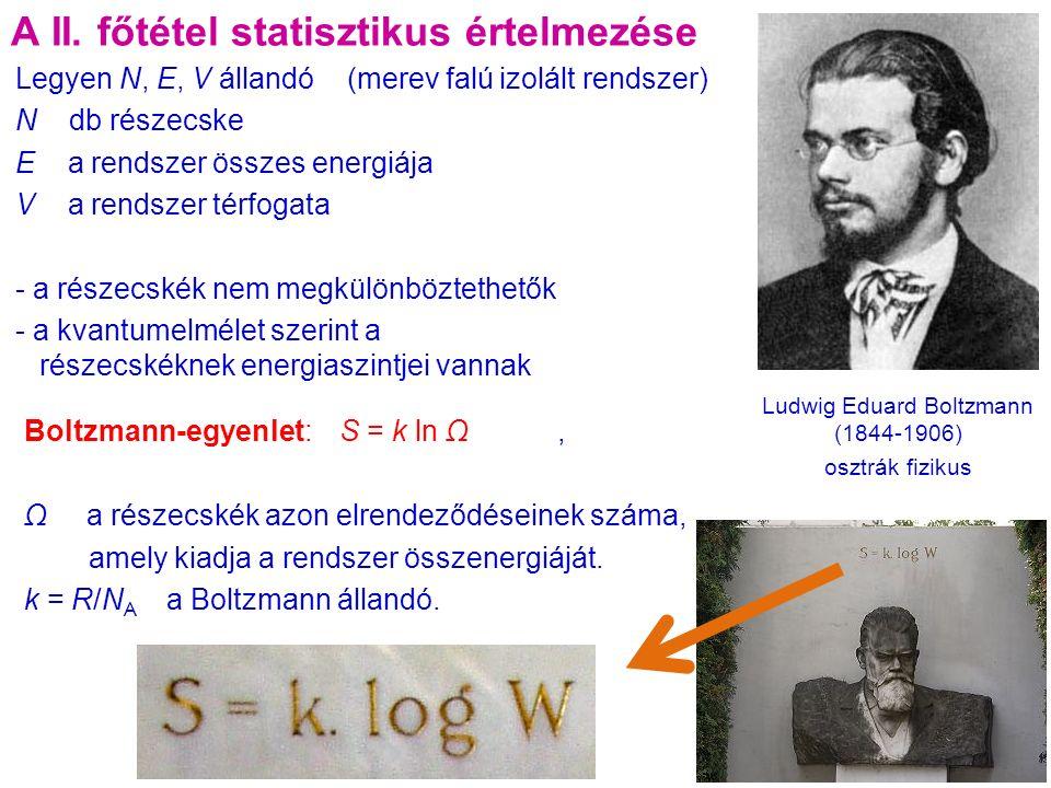 Boltzmann-egyenlet:S = k ln Ω, Ω a részecskék azon elrendeződéseinek száma, amely kiadja a rendszer összenergiáját.