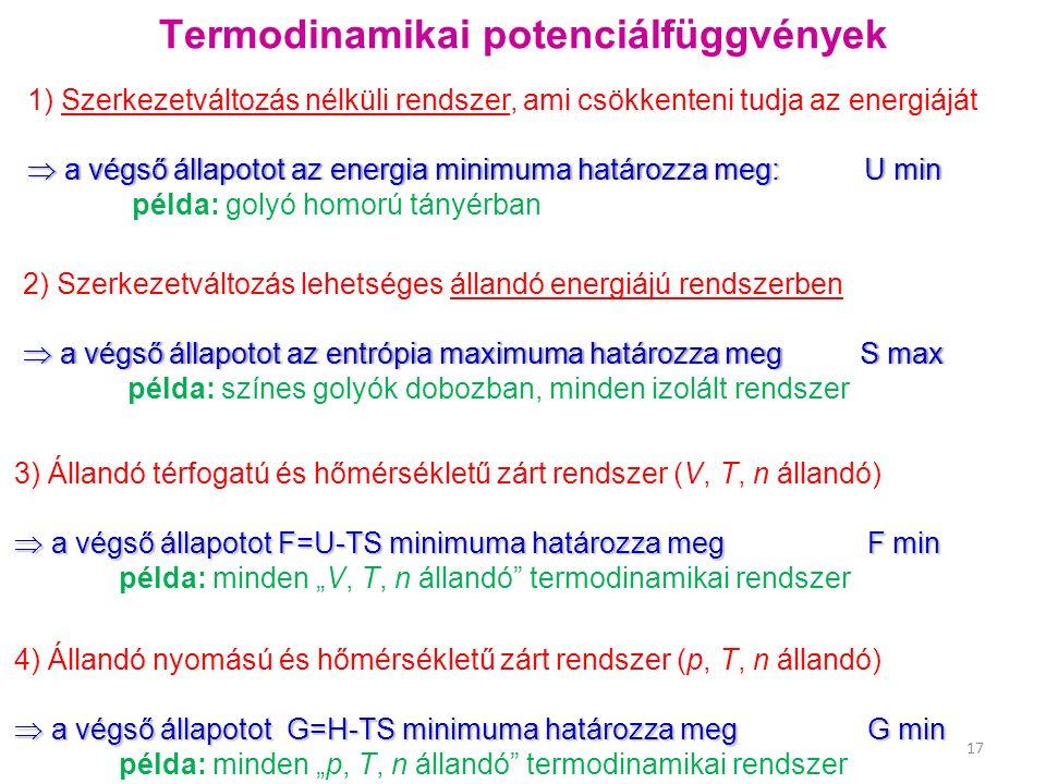 """Termodinamikai potenciálfüggvények 1) Szerkezetváltozás nélküli rendszer, ami csökkenteni tudja az energiáját  a végső állapotot az energia minimuma határozza meg: U min példa: golyó homorú tányérban 17 2) Szerkezetváltozás lehetséges állandó energiájú rendszerben  a végső állapotot az entrópia maximuma határozza megS max példa: színes golyók dobozban, minden izolált rendszer 3) Állandó térfogatú és hőmérsékletű zárt rendszer (V, T, n állandó)  a végső állapotot F=U-TS minimuma határozza meg F min példa: minden """"V, T, n állandó termodinamikai rendszer 4) Állandó nyomású és hőmérsékletű zárt rendszer (p, T, n állandó)  a végső állapotot G=H-TS minimuma határozza meg G min példa: minden """"p, T, n állandó termodinamikai rendszer"""