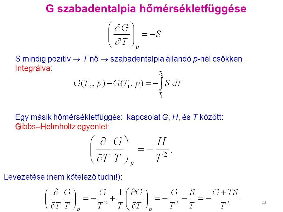Egy másik hőmérsékletfüggés: kapcsolat G, H, és T között: GH Gibbs–Helmholtz egyenlet: 23 G szabadentalpia hőmérsékletfüggése Levezetése (nem kötelező tudni!): S mindig pozitív  T nő  szabadentalpia állandó p-nél csökken Integrálva: